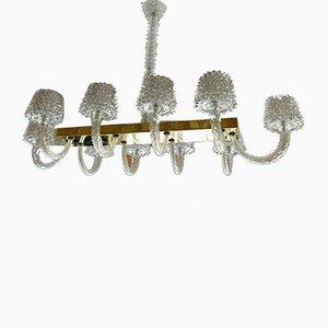 Lámpara de araña de vidrio Rostrato con diez luces de Ercole Barovier, años 40