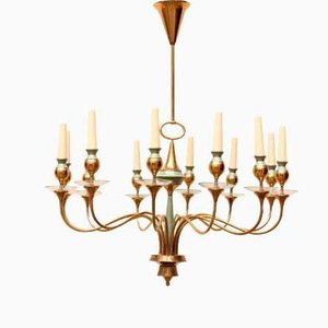 Lámpara de techo de latón de Stilnovo