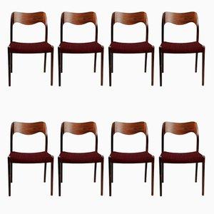 Chaises de Salon Personnalisables en Palissandre par Niels Otto Møller,1960s, Set de 8