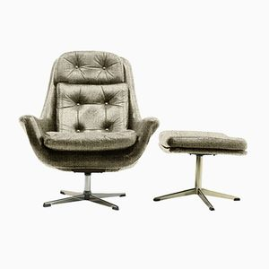 Customizable Lounge Chair and Ottoman Set by H.W. Klein for Bramin, 1970s in Sand