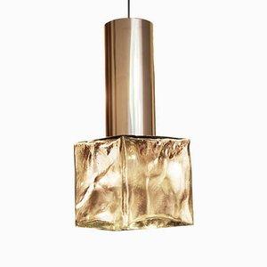 Lámpara colgante vintage de vidrio y acero de J.T. Kalmar