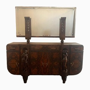 Sculptural Walnut Sideboard and Mirror, 1920s, Set of 2