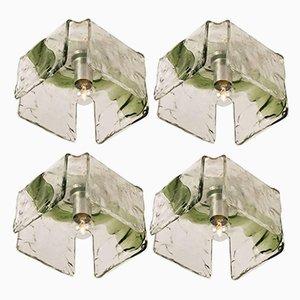 Plafones de pared de vidrio soplado de J.T. Kalmar, años 60. Juego de 4