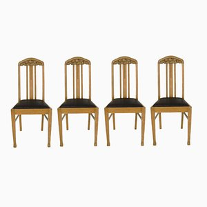 German Antique Oak Dining Chairs, Set of 4