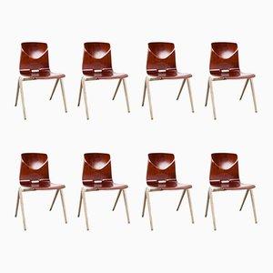 Vintage Dutch Industrial S22 School Chairs from Galvanitas, Set of 8
