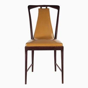 Sedie da pranzo in legno e similpelle di Arturo & Attilio Fossati, anni '40, set di 6