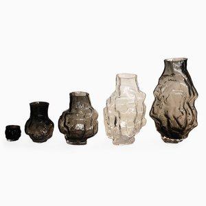 Vases Carved-Mold Glass Vases en Verre par Noam Dover & Michal Cederbaum, Set de 5