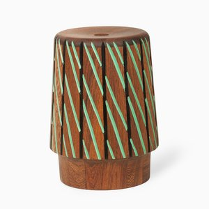 Sefefo Color Series Stool in Black and Green by Patricia Urquiola