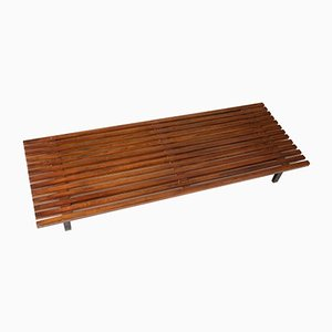 Mahogany Slatted Bench by Charlotte Perriand, 1950s