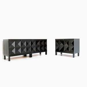 Brutalist Sideboard and Bar Cabinet from de Coene, 1960s, Set of 2