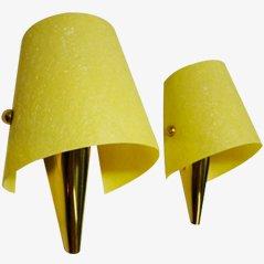 Lampes Murales avec Attaches en Laiton, 1950s, Set de 2