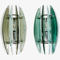 Glass Wall Lamps by Fontana Arte, Set of 2
