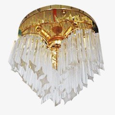 Crystal and Gold-Plated Ceiling Lamp from Venini, 1970s
