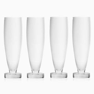 Flûtes à Champagne Tulipe en Verre Soufflé par Aldo Cibic pour Paola C., Set de 4