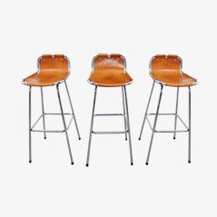 Les Arcs Bar Stools by Charlotte Perriand, 1960, Set of 3