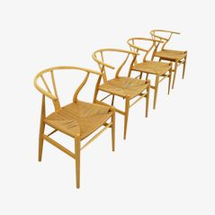 CH-24 Y Wishbone Chairs by Hans Wegner for Carl Hansen, 1949, Set of 4