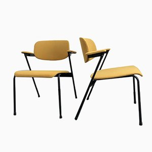 Ocher Yellow Armchairs by Willy van der Meeren for Tubax, 1950s, Set of 2