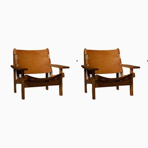 Oak and Cognac Saddle Leather Hunting Chairs by Kurt Østervig for K.P. Jørgensen Møbler, 1960s, Set of 2