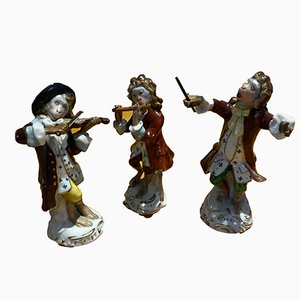 Antique Porcelain Monkeys Musicians from Sitzendrof Saxony Dresden, Set of 3