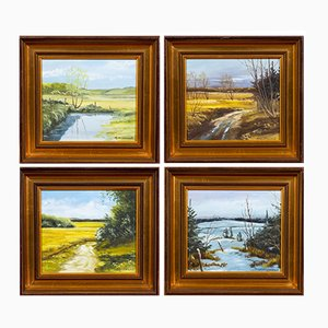 Mid-Century Danish The Season Paintings, Set of 4