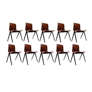 S22 Stackable Compass Legged Chairs from Galvanitas, 1970s, Set of 10