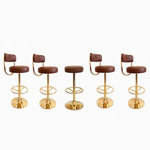 Vintage Golden Bar Stools by Börje Johanson for Johanson Design, Set of 5