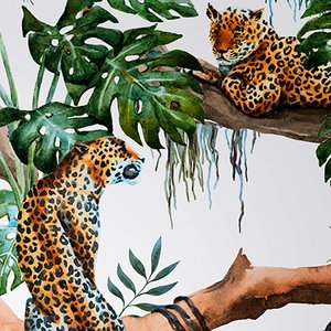 Leopards on Tree Fabric Wall Covering by Chiara Mennini for Midsummer-Milano
