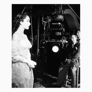 Elizabeth Taylor on Set Archival Pigment Print Framed in Black by Everett Collection