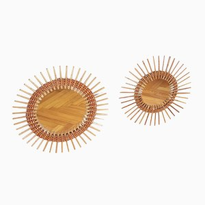 Mid-Century Round Rattan & Willow Wall Mirrors from Zadrev Morkovice, Set of 2, 1970s