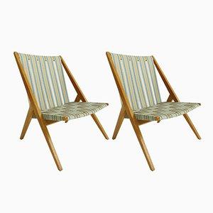 Chaises de Jardin en Tissu et Chêne de Victoria Möbel, 1950s, Set de 2