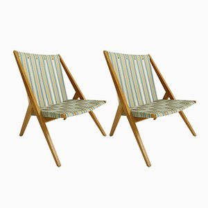 Fabric and Oak Garden Chairs from Victoria Möbel, 1950s, Set of 2