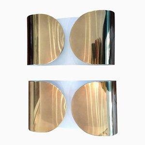 Appliques Murales Bullicante Foglio par Tobia & Afra Scarpa pour Flos, 1960s, Set de 2