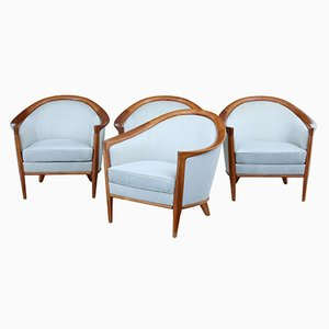 Vintage Swedish Teak Club Armchairs by Bertil Fridhagen for Bröderna Andersson, Set of 4