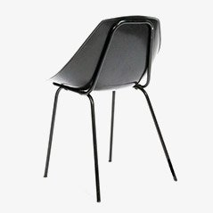 Coquillage Black Chairs by Pierre Guariche for Meurop, Set of 4