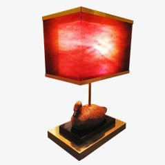 Plexiglass Table Lamp with Rattan Duck, 1968