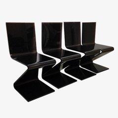 Braune Plexiglas Stühle, 4er Set