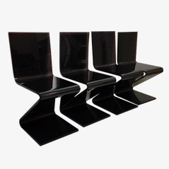 Chaises de Salon Marrons en Lucite, Set de 4