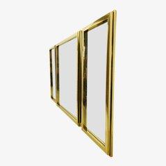 Vintage Brass Mirrors, 1970s, Set of 3