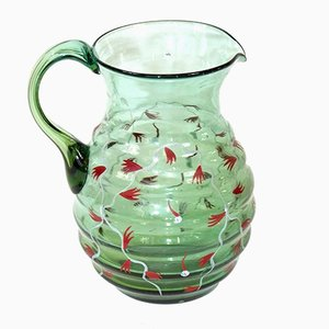 Vintage Green Glass Pitcher