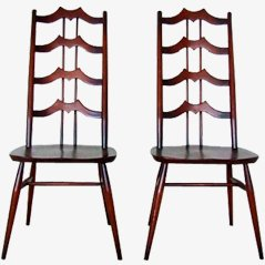 Brown Elmwood Dining Chairs by L. Ercolani, Set of 2