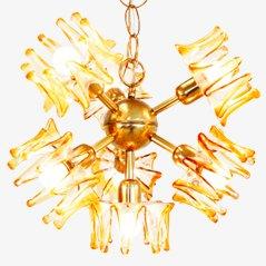 Lámpara colgante de cristal de Murano de AV Mazzega, años 50