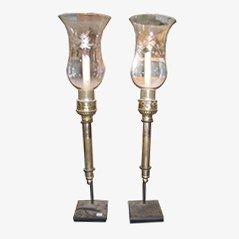 Antike Kerzenständer aus Kristallglas, 2er Set