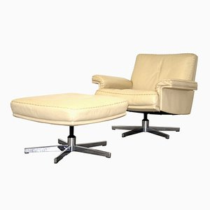 Swiss DS 35 Swivel Lounge Armchair & Ottoman from de Sede, 1960s