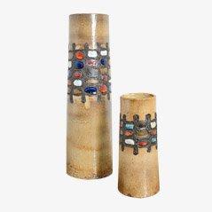 Jarrones de cerámica de Perignem, años 60. Juego de 2