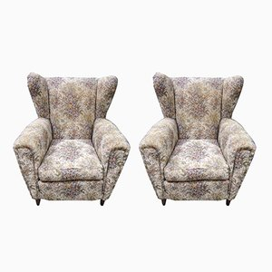 Fabric and Conical Base Armchairs, 1960s, Set of 2