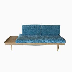 Sofá cama de roble y tela azul de Ingmar Relling para Ekornes, años 60