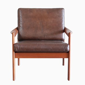 Vintage Leather Armchair by Illum Wikkelsø for Eilersen