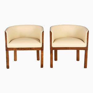 Art Deco Walnut Veneered Club Chairs, Set of 2