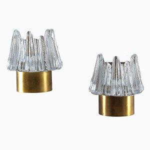 Scandinavian Glass & Brass Wall Sconces, Set of 2