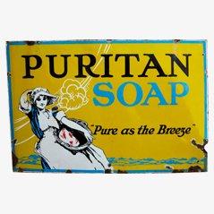 Cartel Puritan Soap inglés vintage esmaltado, años 10